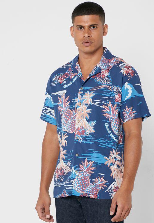 Tropical Print Regular Fit Shirt