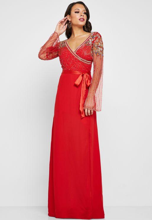 Roseline Tie Waist Side Slit Embellished Detail Dress