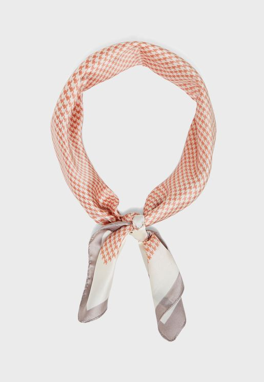 Houndstooth Check Satin Scarf