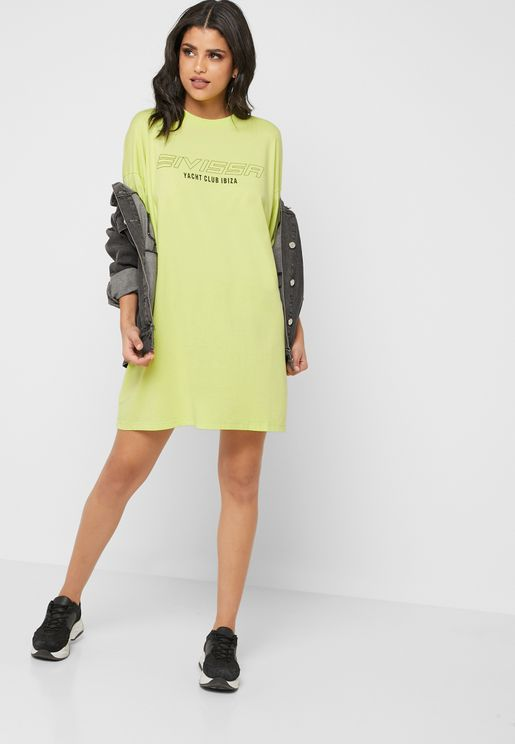 67fcbb270a Oversized Neon Slogan T-Shirt Dress