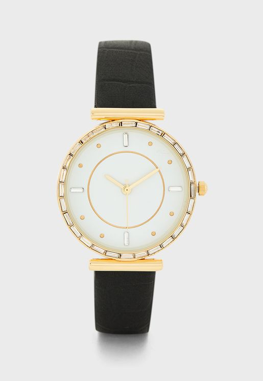 Crystal T-Bar Watch with Croc Strap