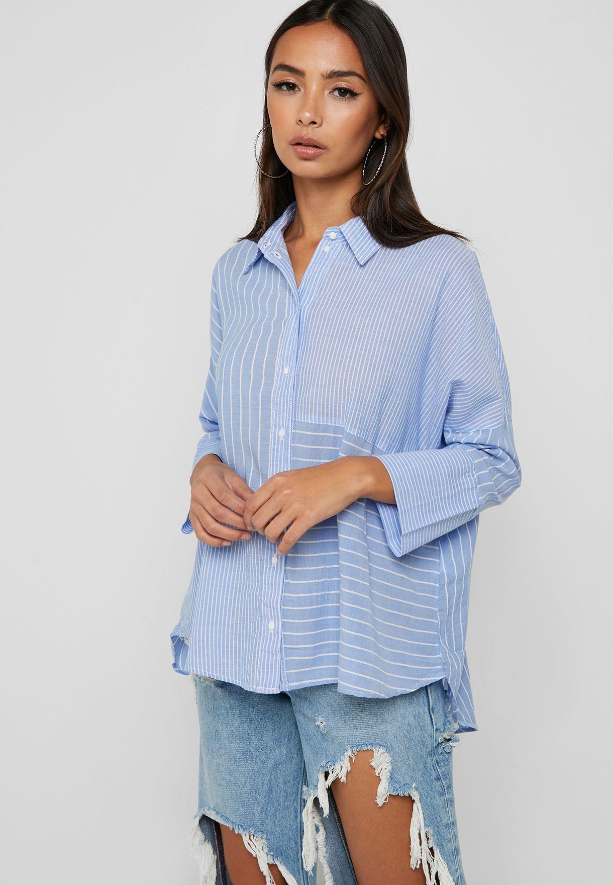 640febfd3b Shop Only stripes Longline Striped Shirt 15170962 for Women in UAE ...