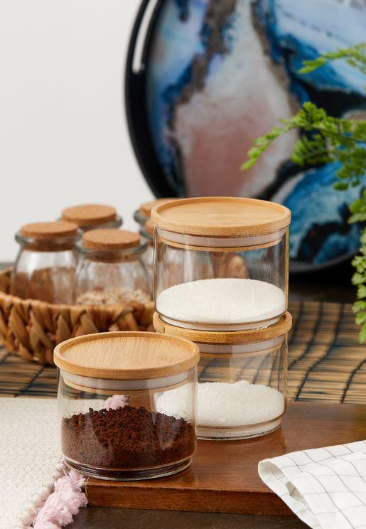 Set Of 3 Stacking Glass Jar