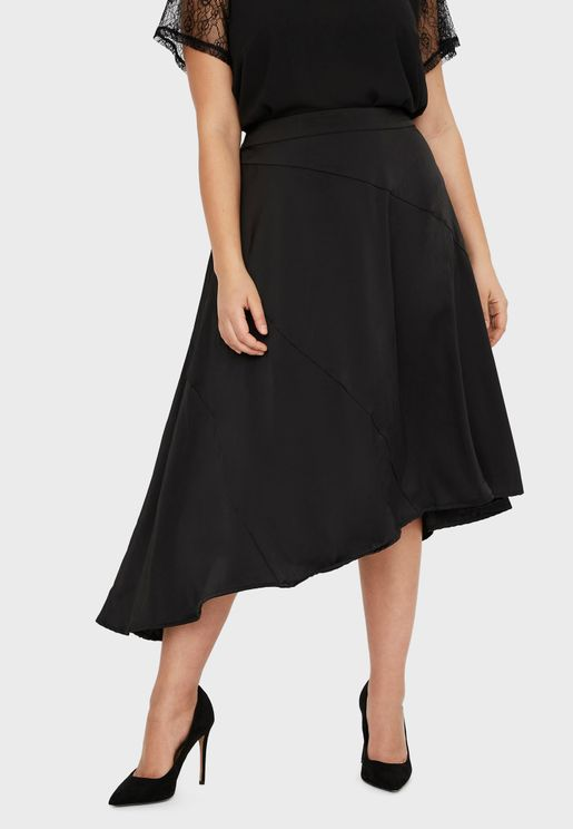 High Waist Asymmetric Midi Skirt