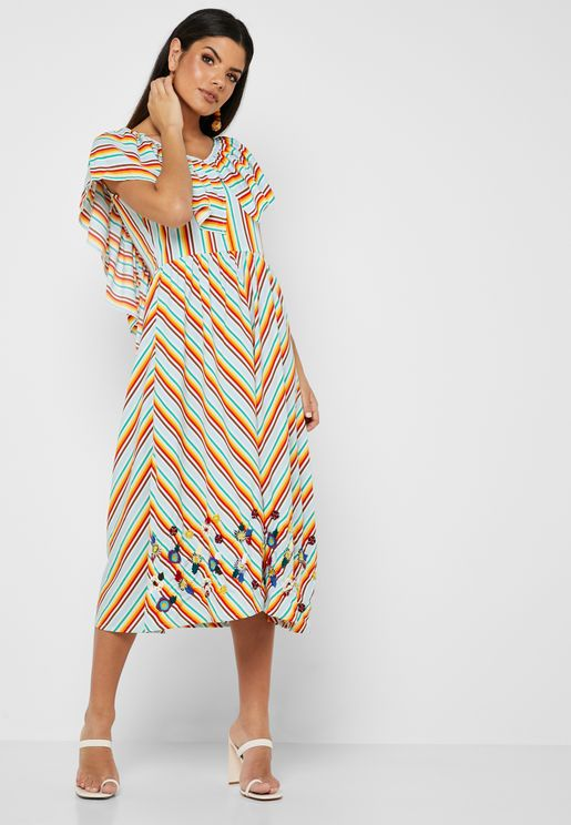 Embroidered Striped  Dress