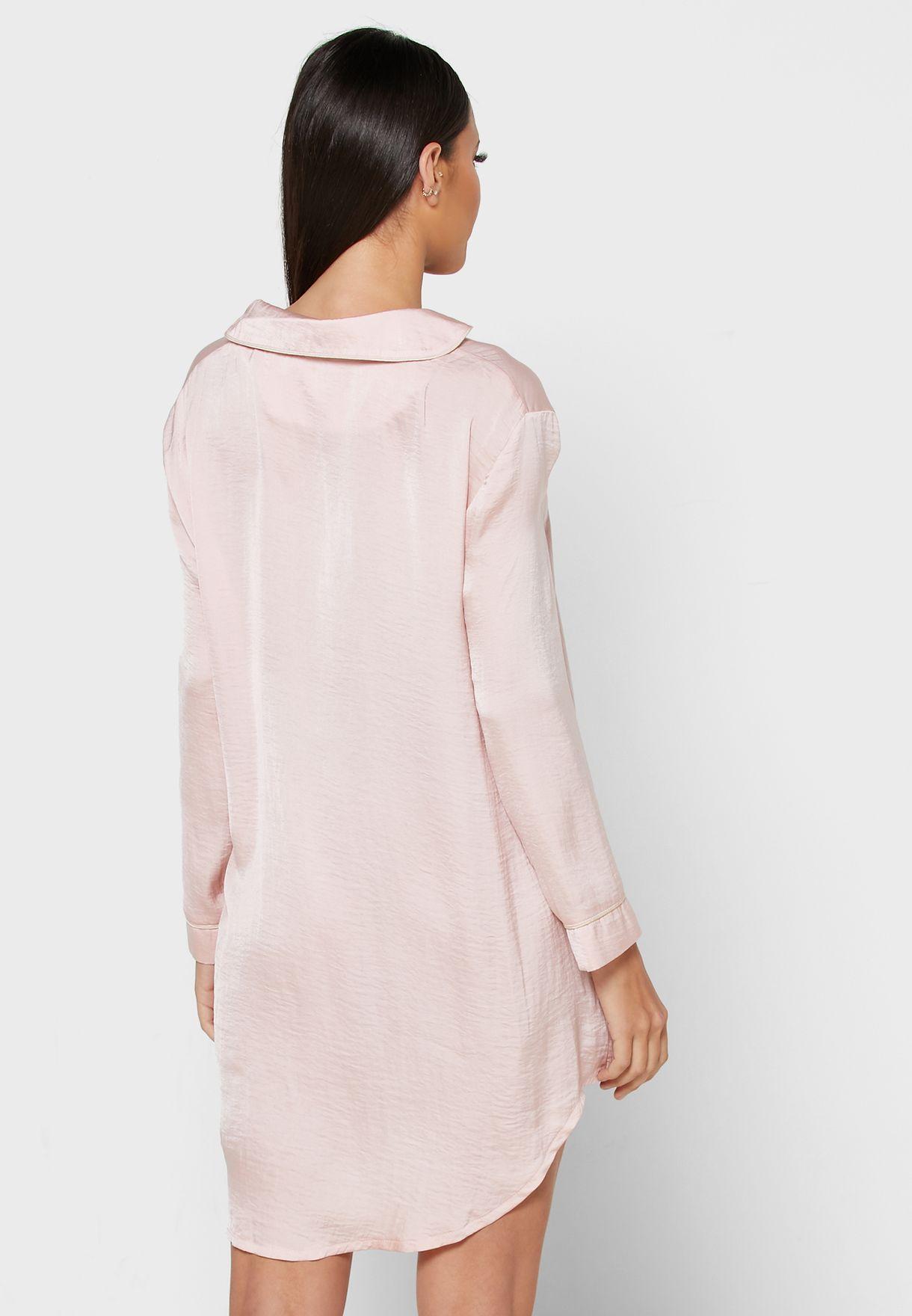 Contrast Piping Shirt Nightdress
