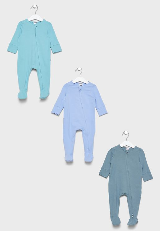 Kids 3 Pack Zip Romper