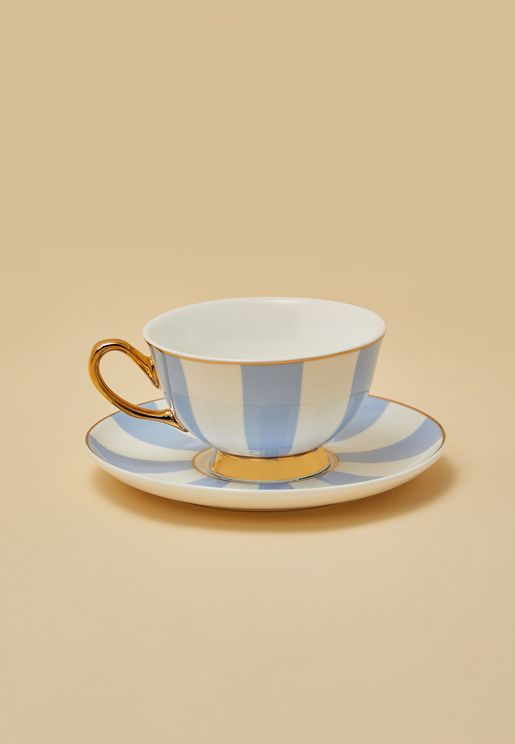 Stripy Teacup With Saucer