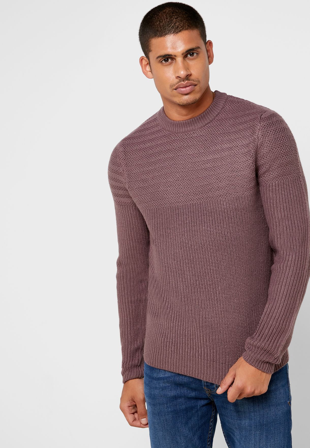 Textured Yoke Detail Sweater