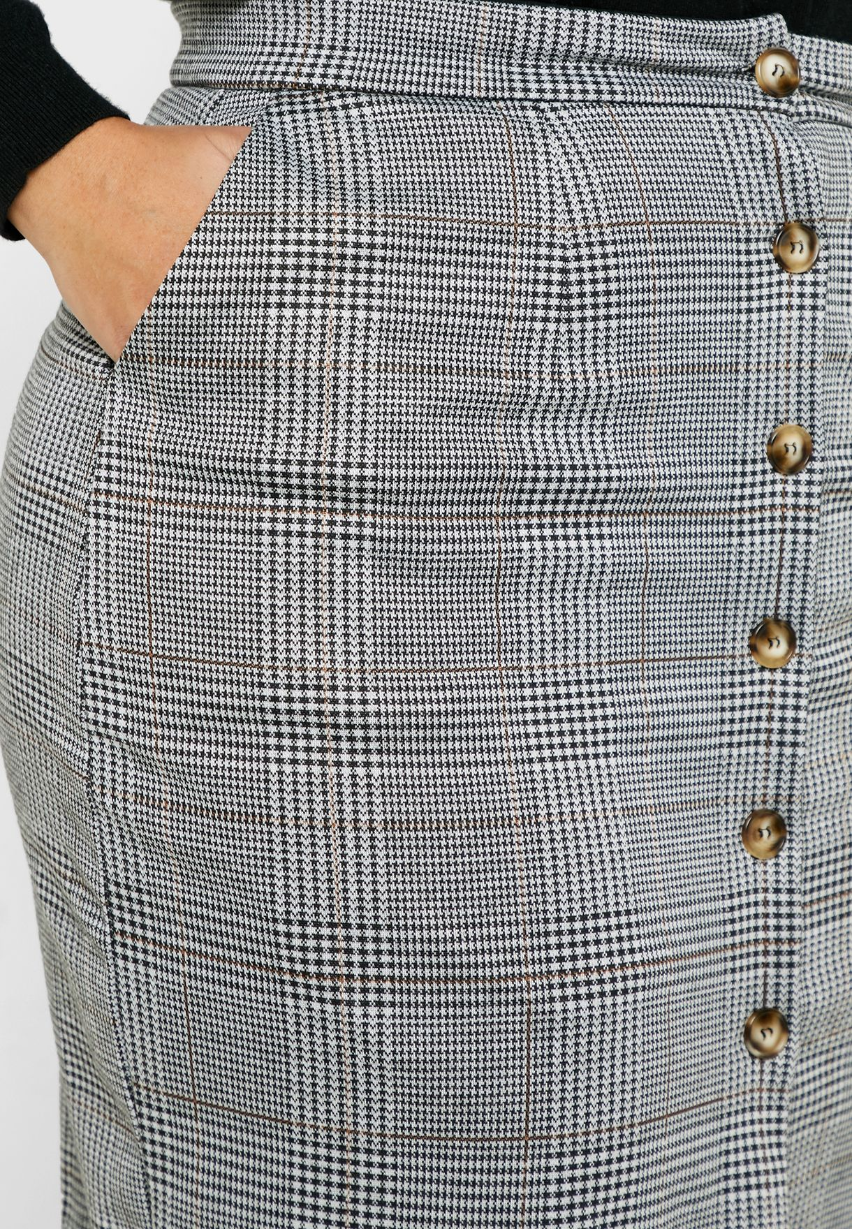 Checked Button Down Pencil Midi Skirt