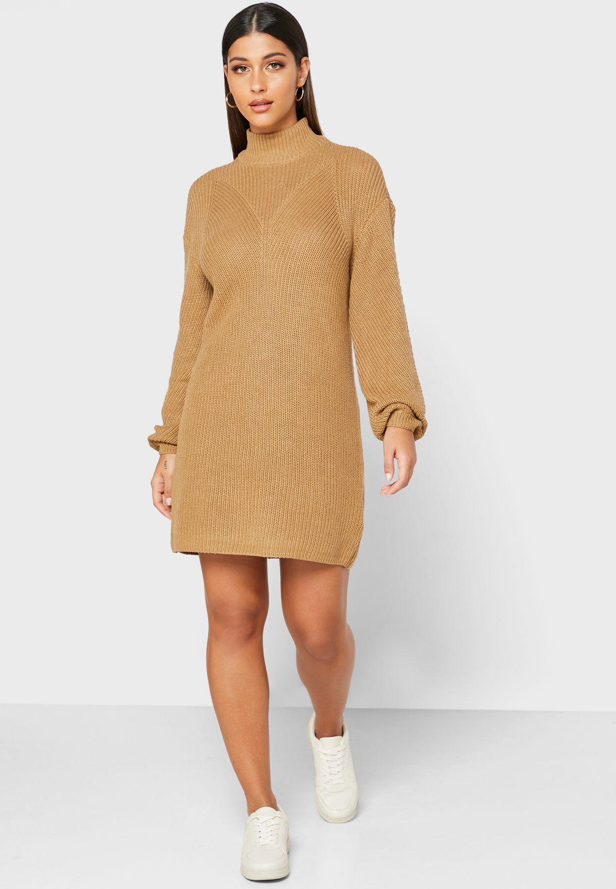 Mock Neck Knitted Dress