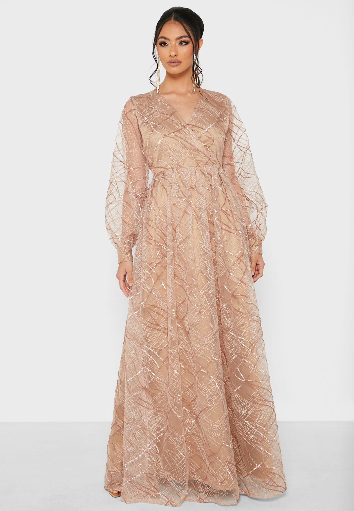 Sequin Detail Wrap Dress