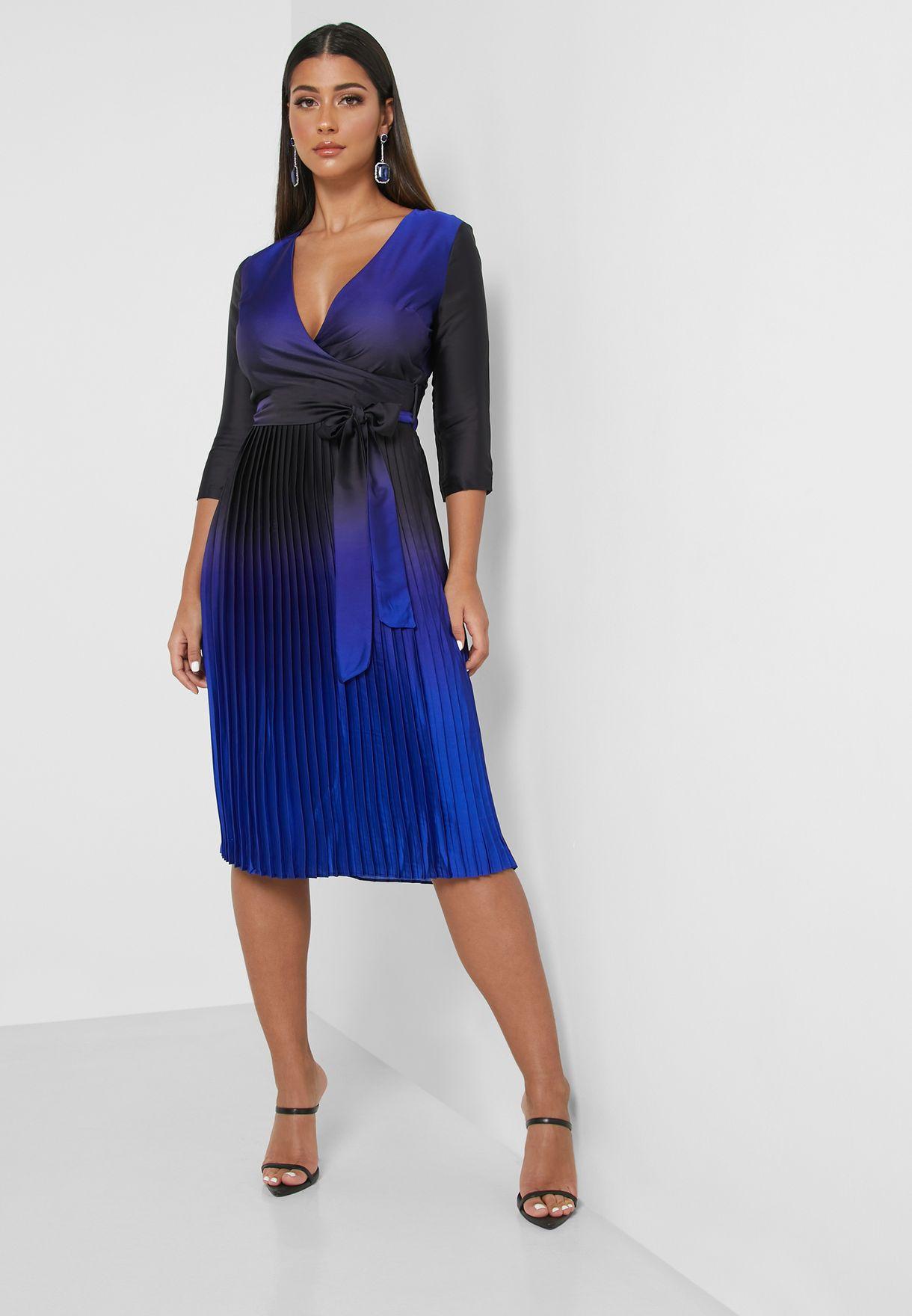 Two Tone Wrap Front Midi Dress