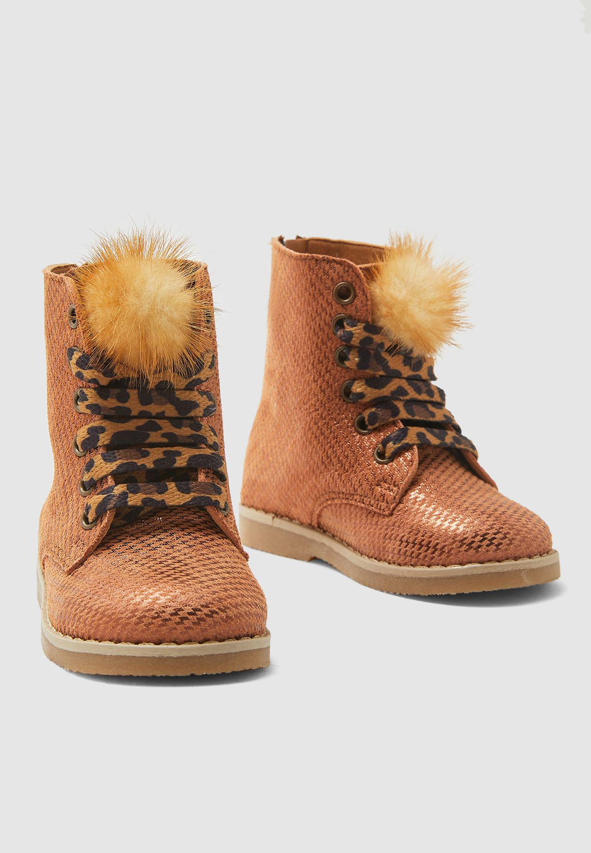 Kids Fur Detail Ankle Boots