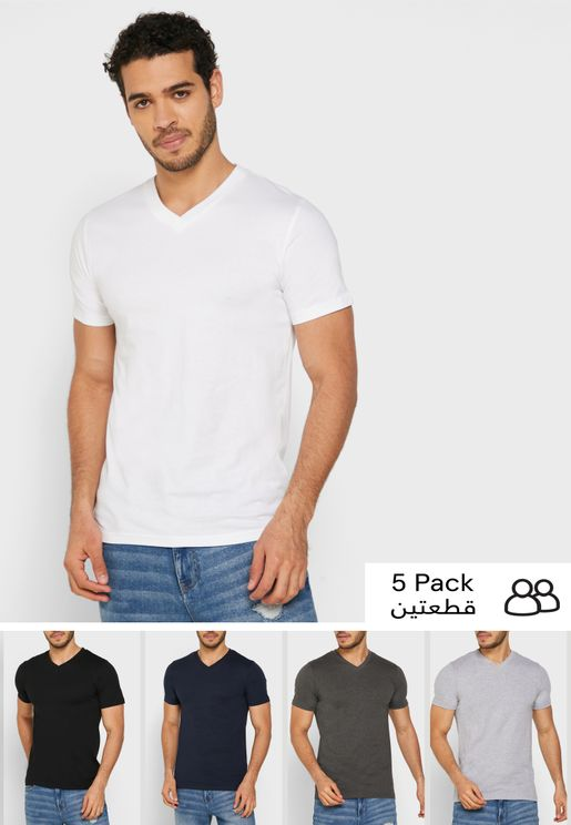 5 Pack V-Neck T-Shirt