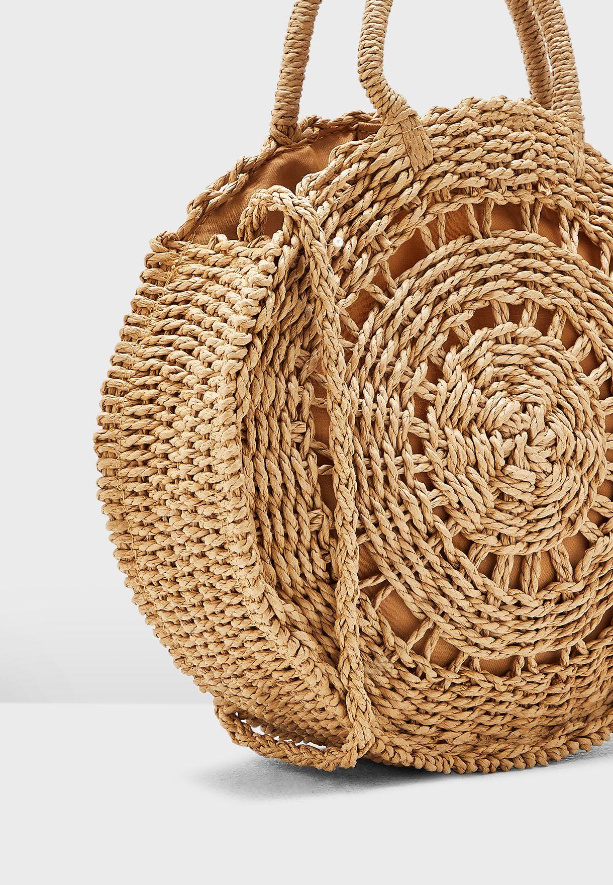 Deli Round Weave Straw Effect Crossbody
