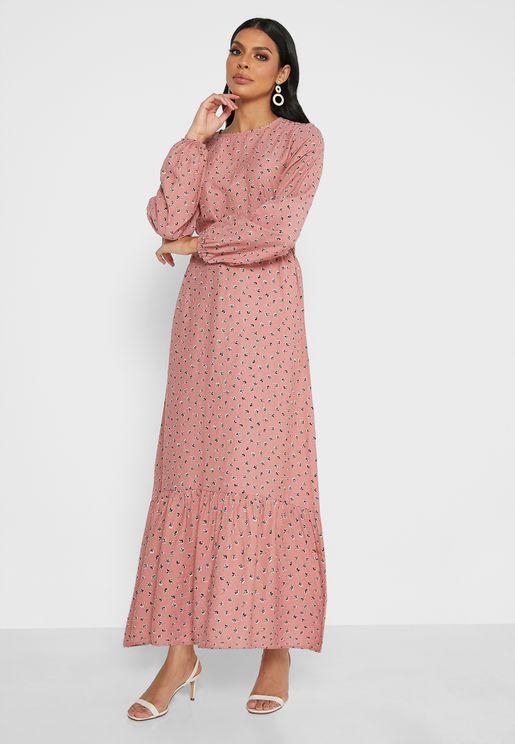 Belt Detail Printed Dress