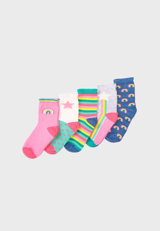 Kids 5 Pack Rainbow Stripe Socks