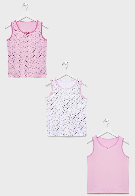Kids 3 Pack Printed Vest