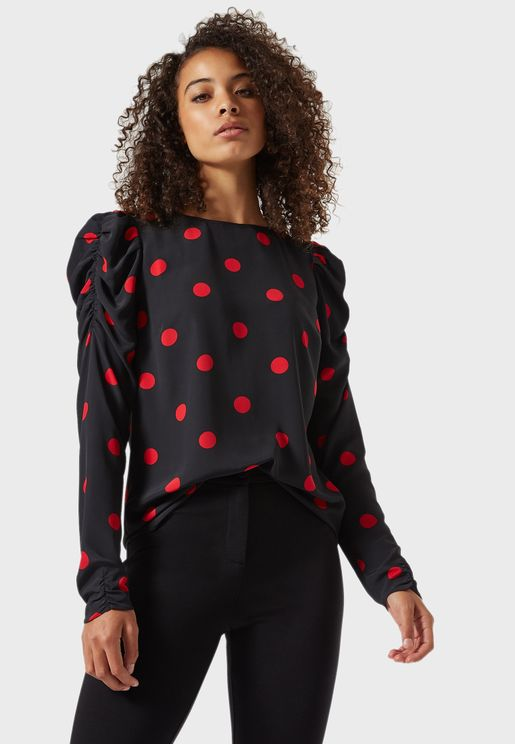 Spot Print Ruched Sleeve Top