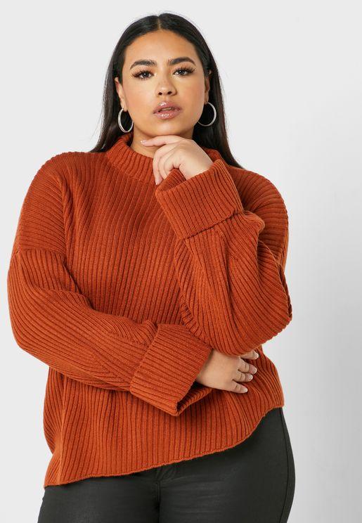 Asymmetric Hem Ribbed Sweater