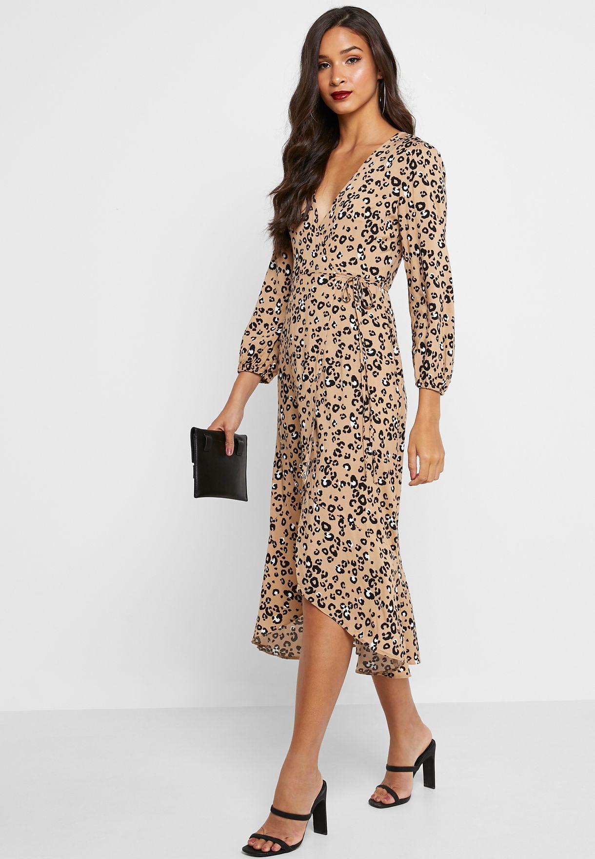 Animal Print Midaxi Wrap Dress
