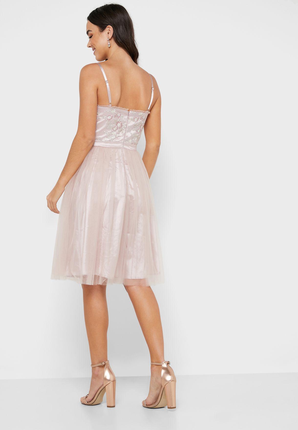 Lace Trim Pleated Skater Dress