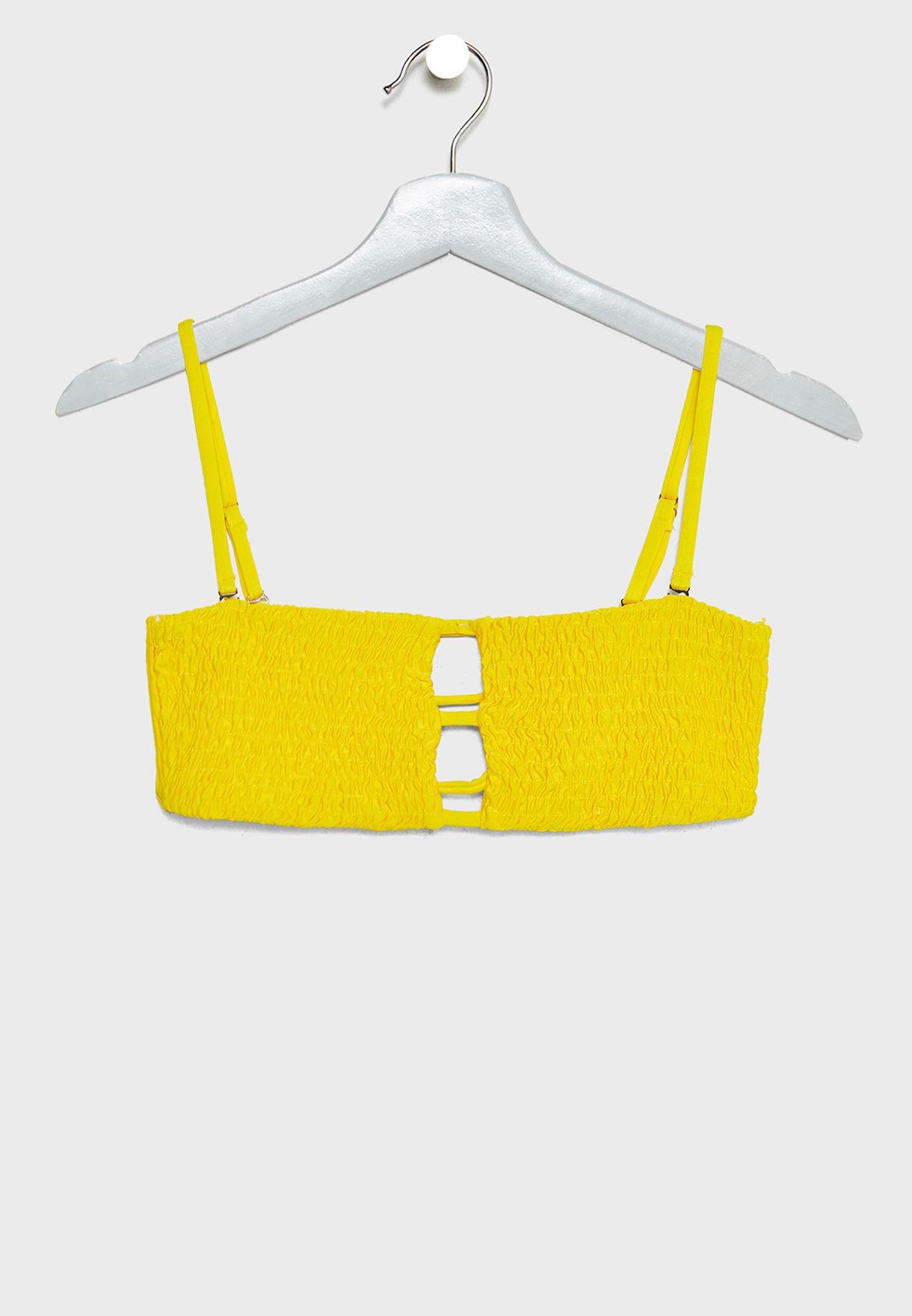 Cut Out Crinkle Bandeau Bikini Top