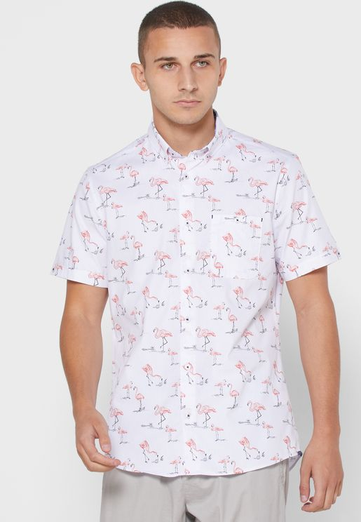 Flamingo Print Slim Fit Shirt