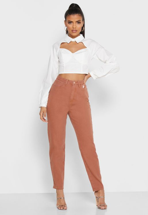 High Waisted Utility Mom Jeans