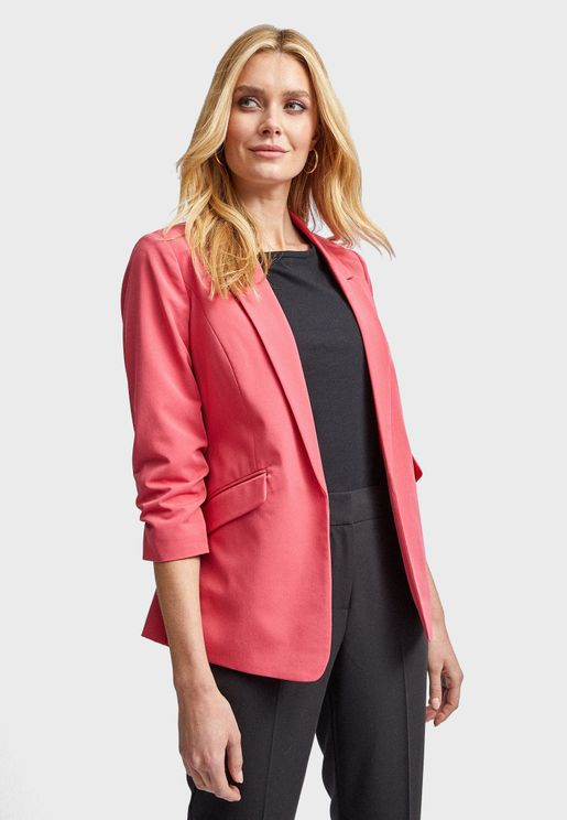 Pocket Detail Ruched Sleeve Blazer