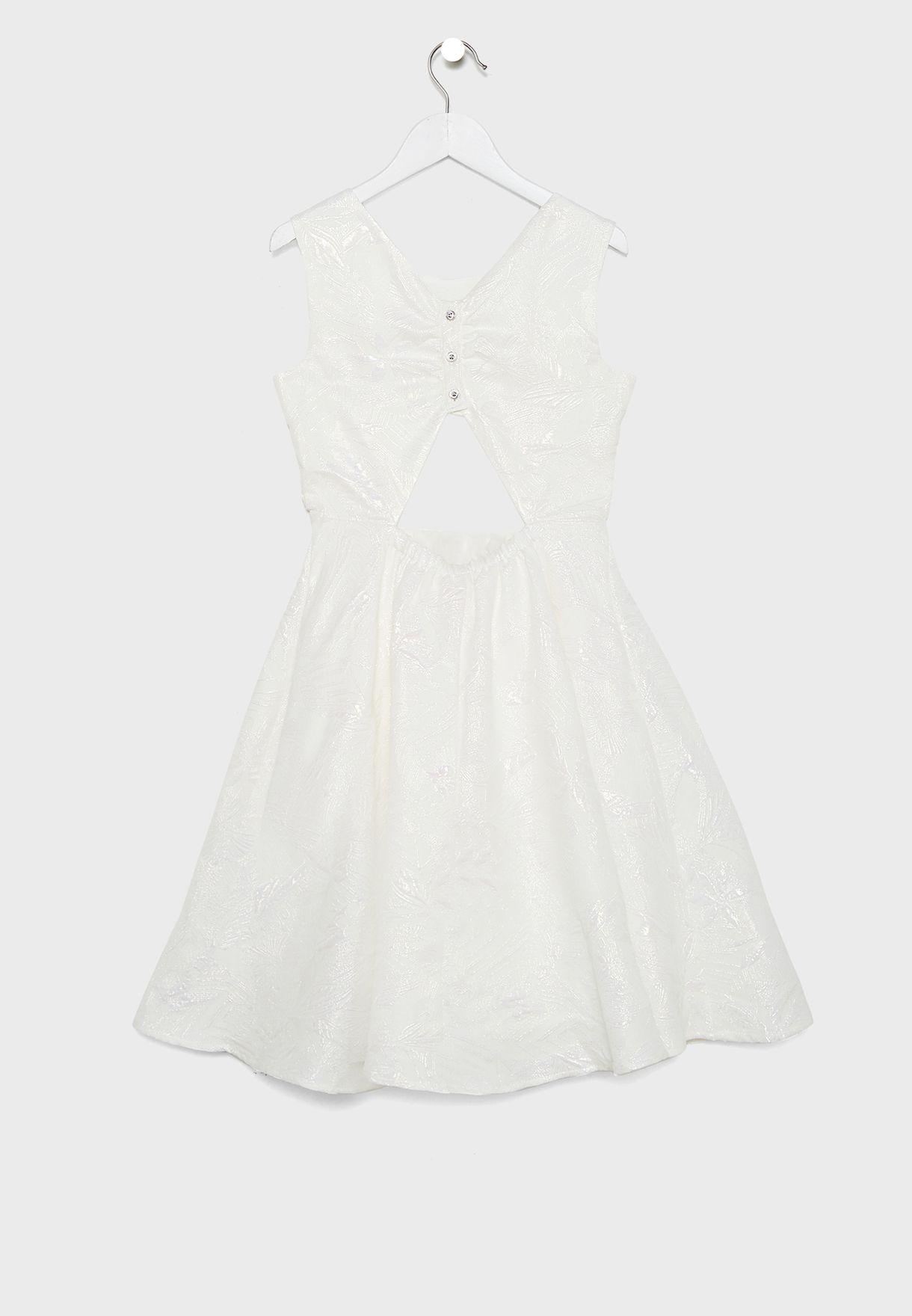 فستان جاكار بدون اكمام