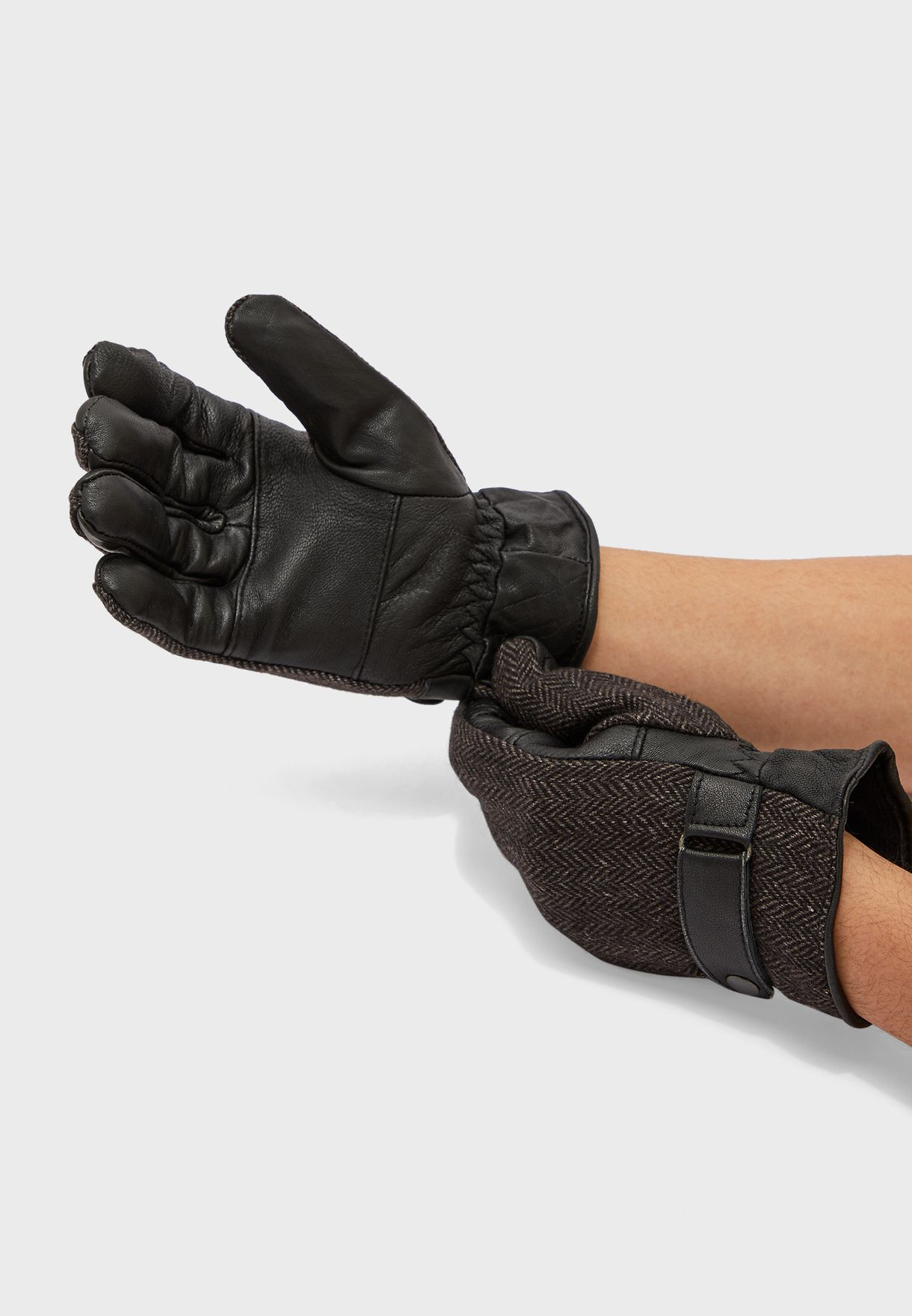 MEN'S TWEED LEATHER GLOVES