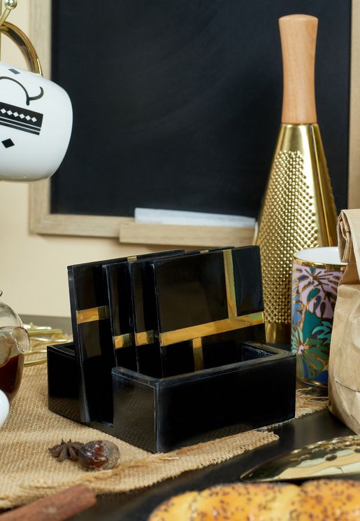 Set of 4 Black with Gold Inlay Coasters & Holder