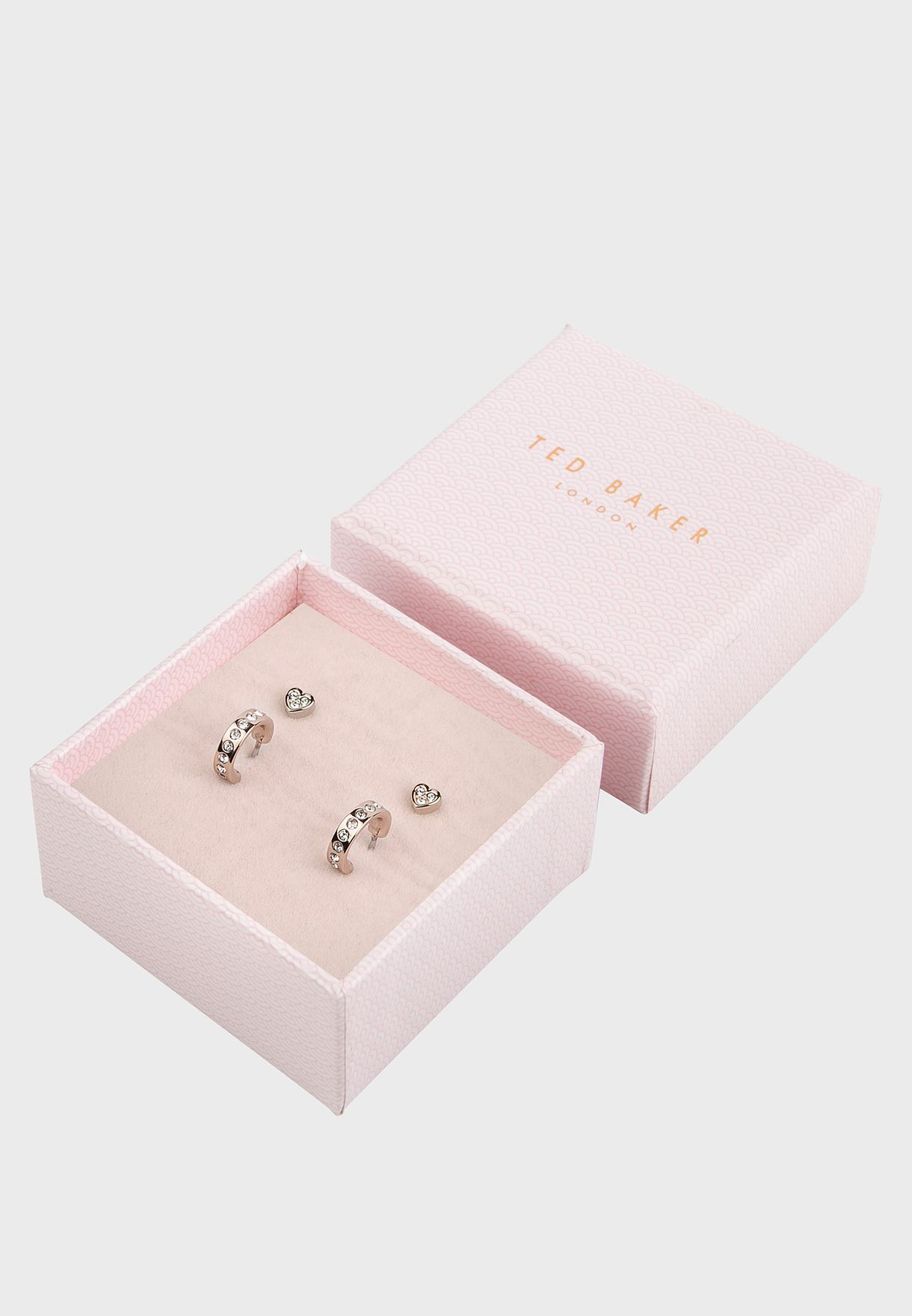 Nelsa Nano Heart Huggie Earrings Gift Set