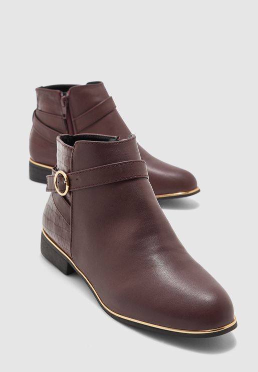 Wide Fit Mina Gold Tipped Jodphur Boot