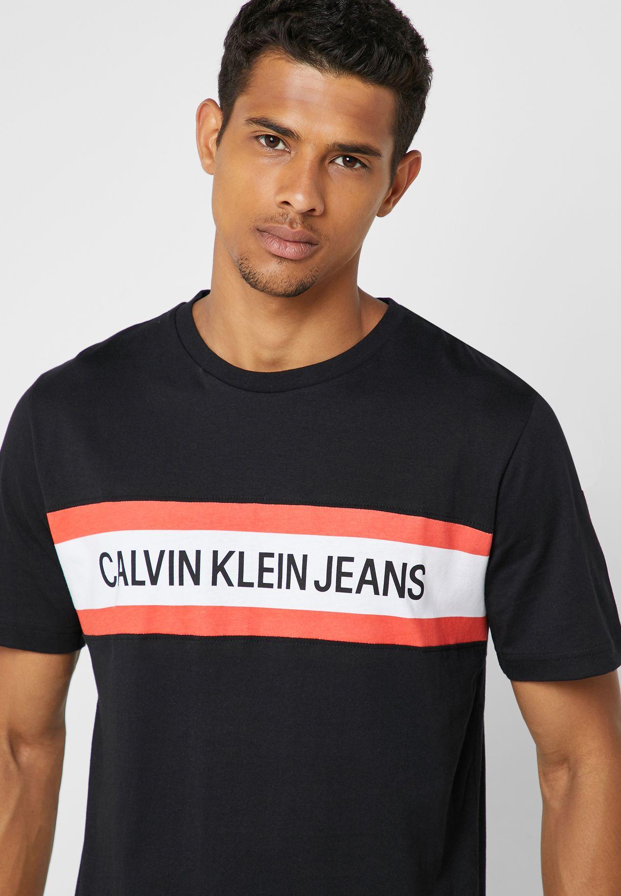 342c1d6ddd84 Shop Calvin Klein Jeans black Institutional Chest Stripe Crew Neck T ...