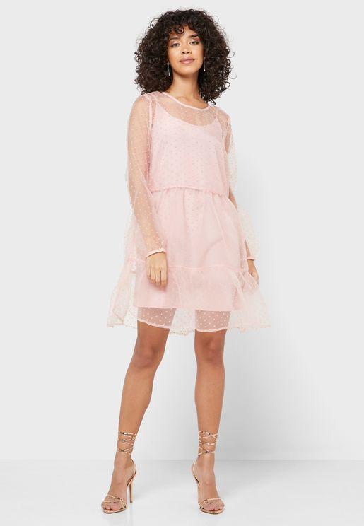 Ruffle Hem Sheer Spotted Dress
