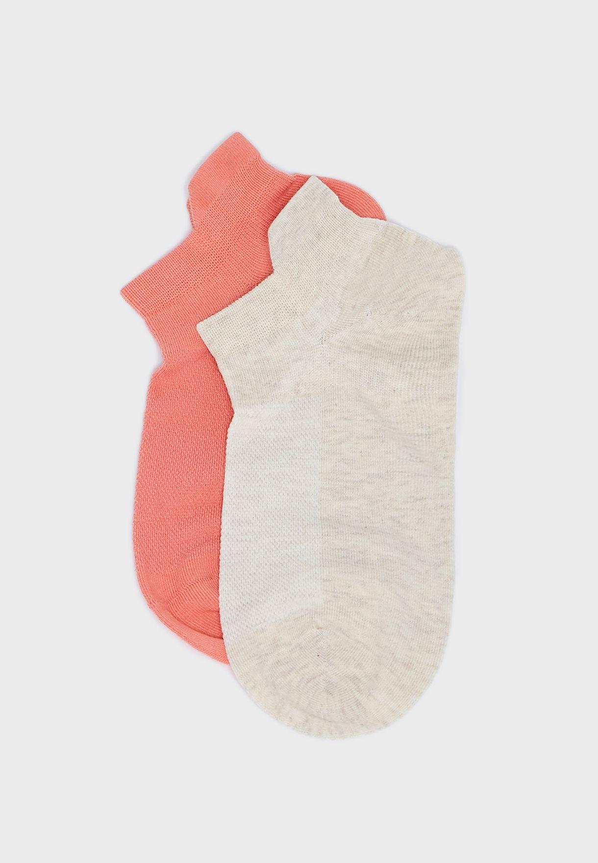 2 Pack Plain Trainer Socks
