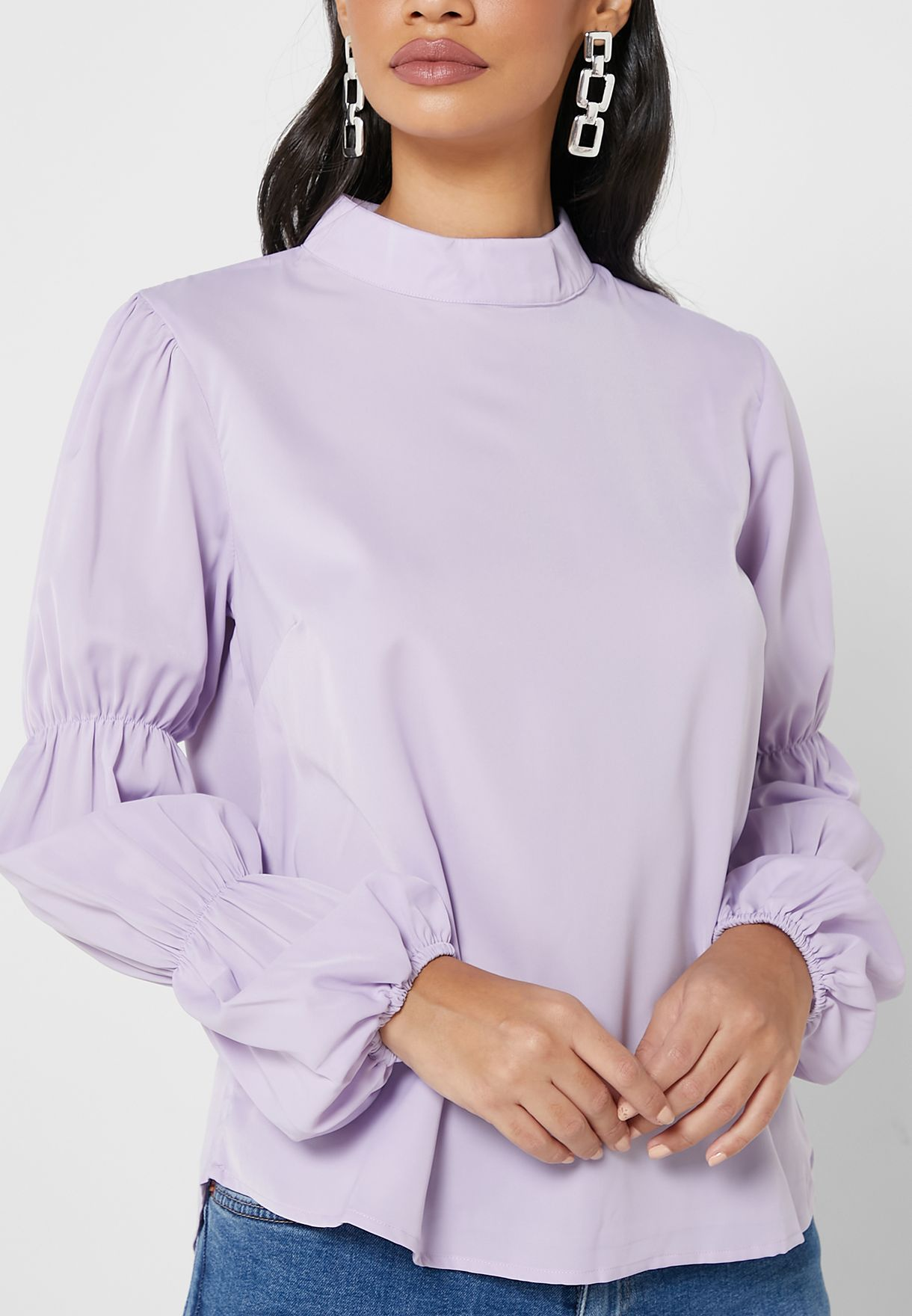 Rouched Sleeve Top