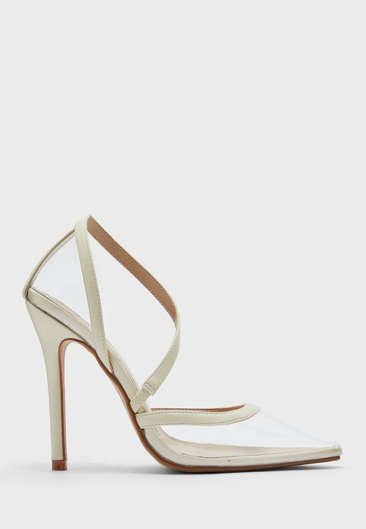 Clear Cream Trim Twisted Pointed Stiletto Pump