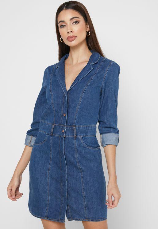 فستان جينز بأزرار