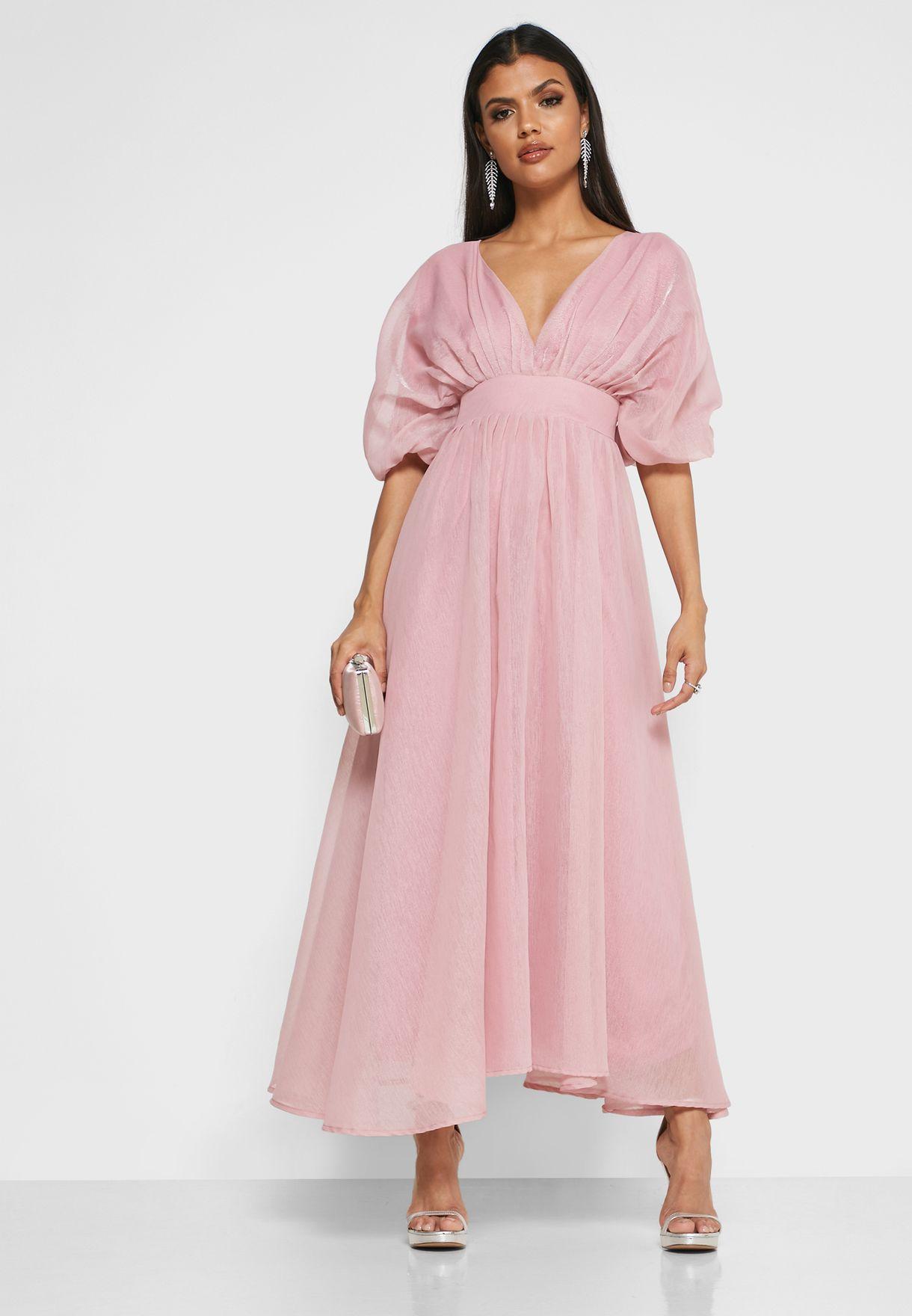 فستان ماكسي باكمام واسعة نمط كيمونو