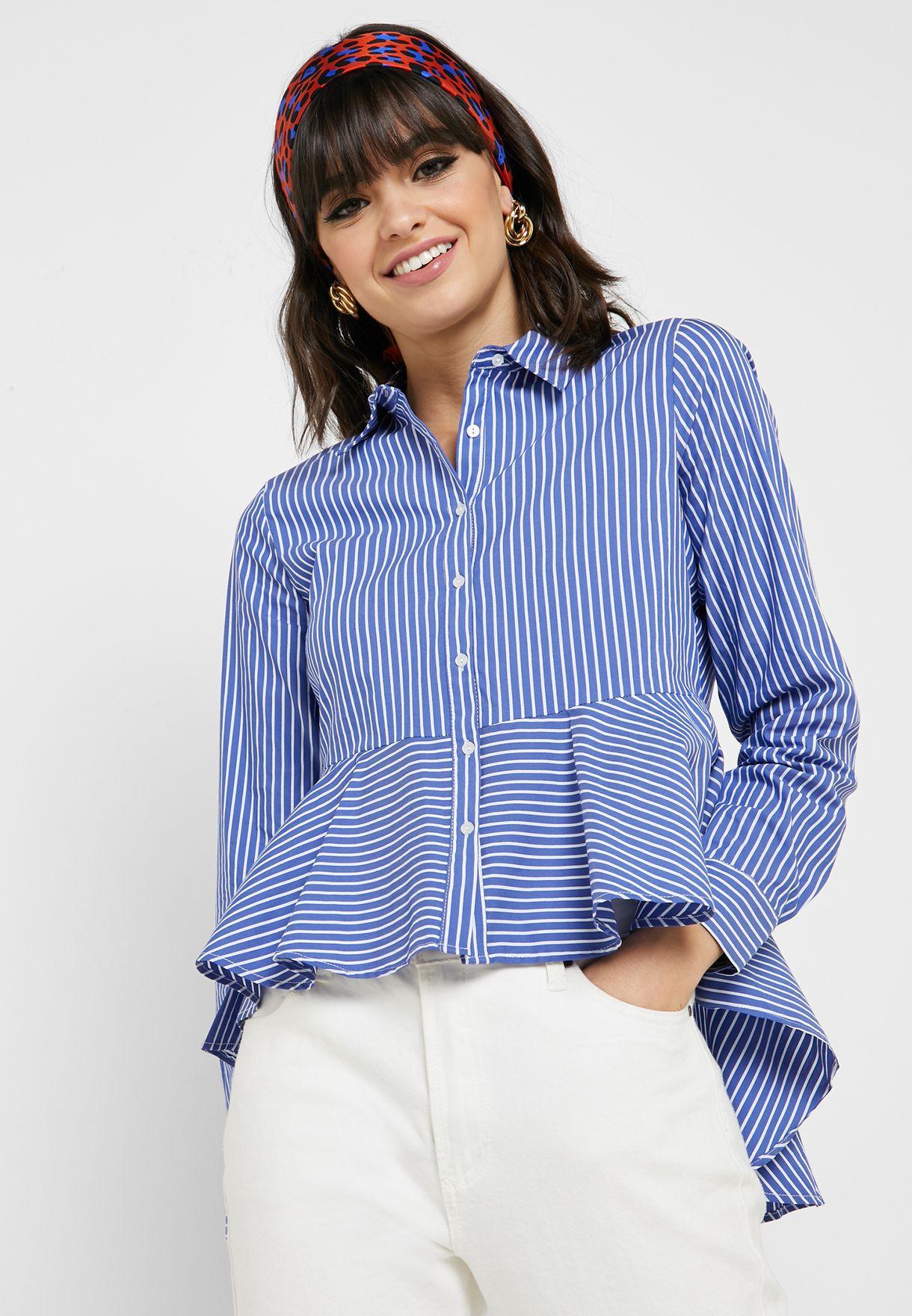 731b423179439 Shop Koton prints Striped Peplum Shirt 9YAK63386EW for Women in ...