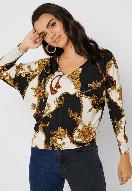 Chain Print Batwing Sleeve Top