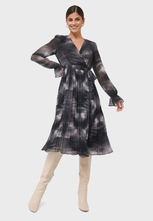 Tie-Dye Pleated Dress