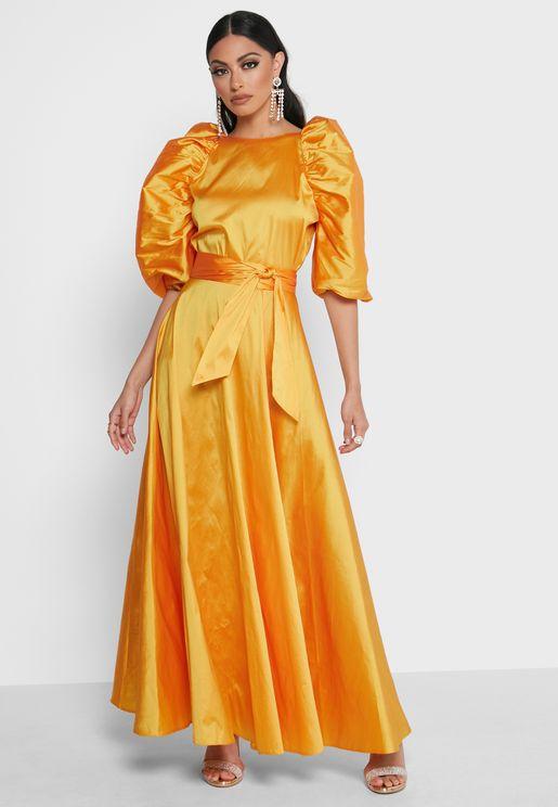 Puff Sleeve Belted Taffeta Dress