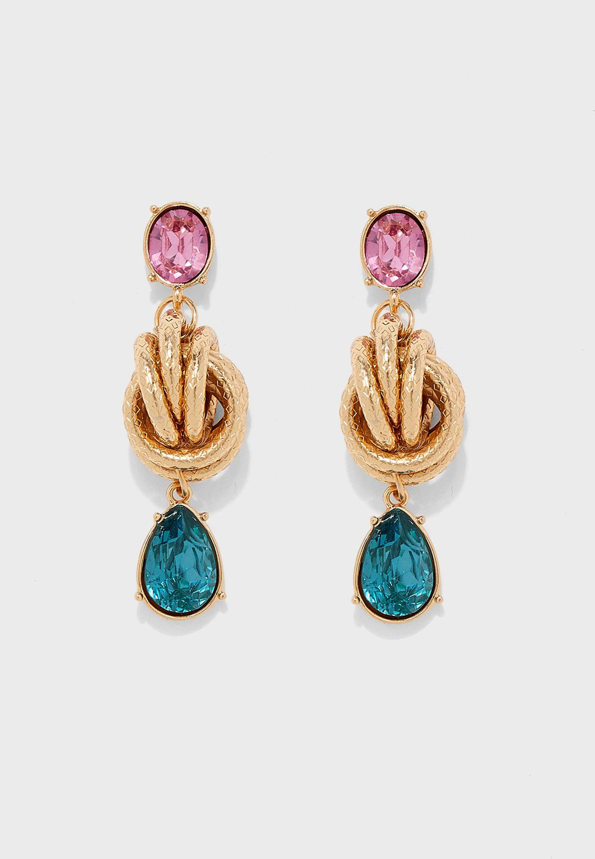 Coloured Stone Drop Twisted Stud Earrings