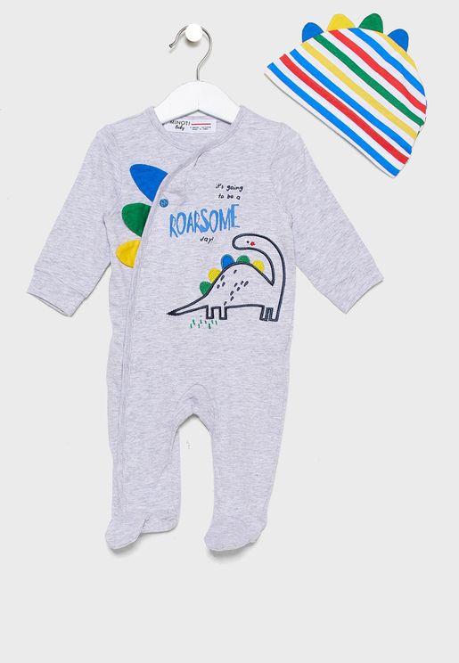 Infant Dinosaur Print Romper+Cap Set