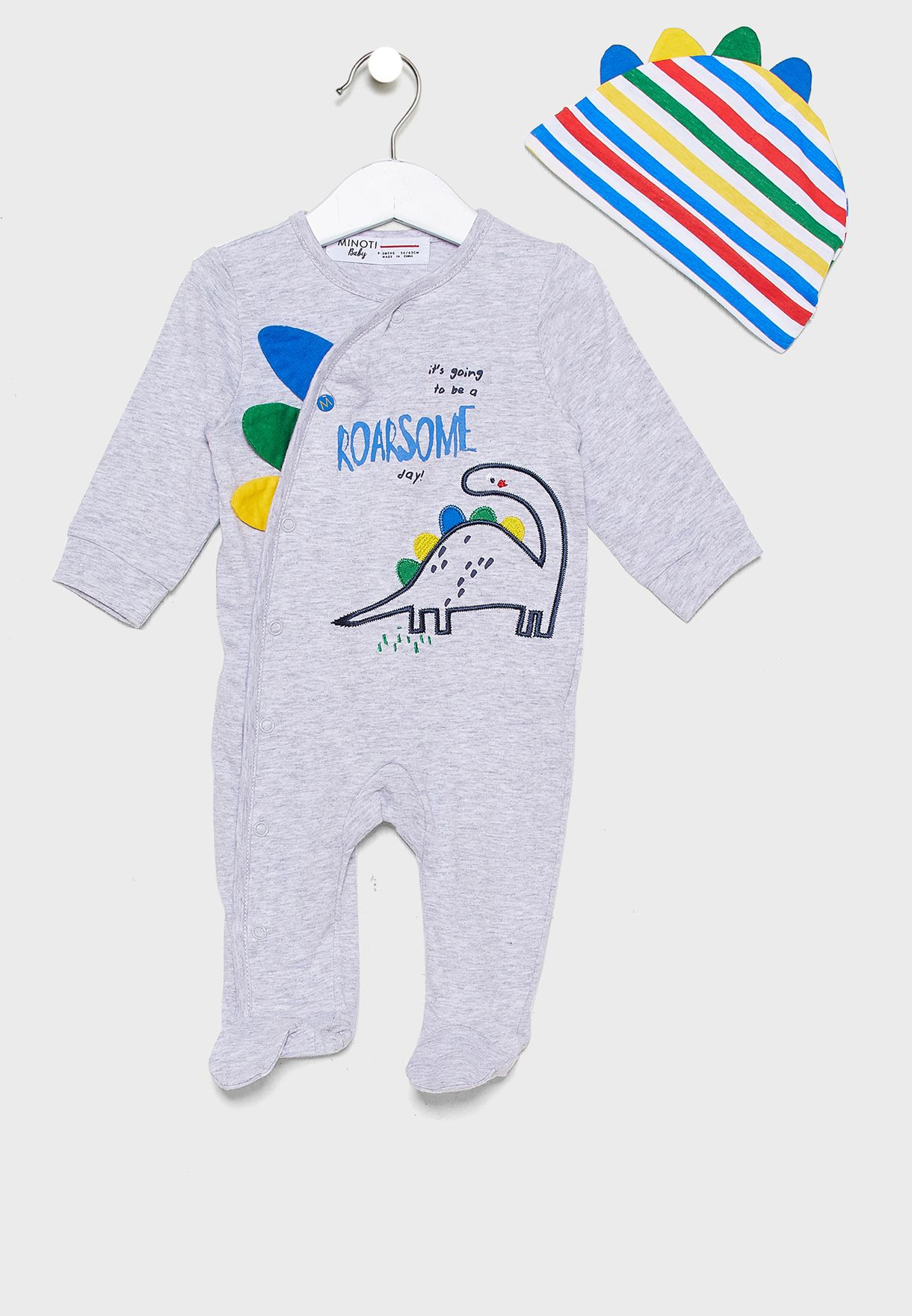 Infant Dinosaur Print Romper+Cap Set